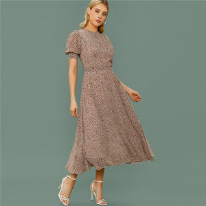 Boho All Over Print Flared Frill Dress with Belt - 4 Colors - WOMENEXY