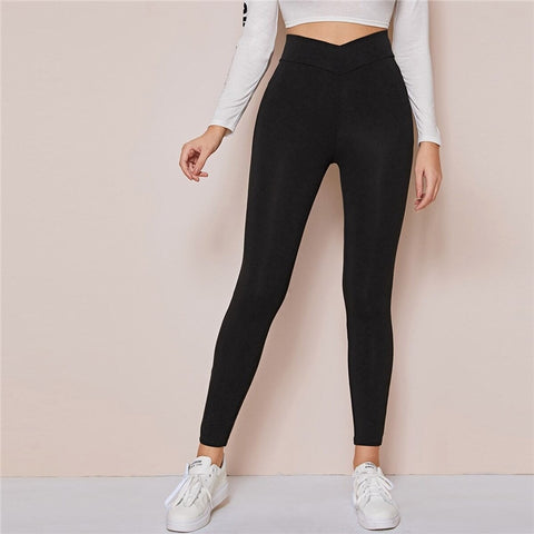 Casual Wide Waistband Leggings - Black - WOMENEXY