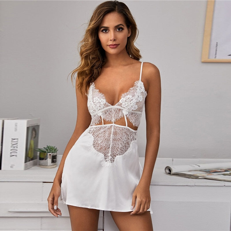 Sexy Contrast Lace Satin Sleep Dress with Thong - White - WOMENEXY