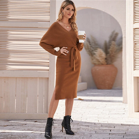 Elegant V-Neck Cut-Out Back Sweater Dress with Belt - Brown - WOMENEXY