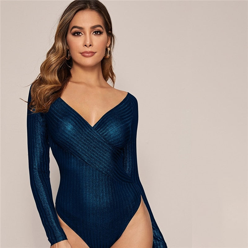 Glamorous Cross Wrap Front Glitter Bodysuit - 3 Colors - WOMENEXY