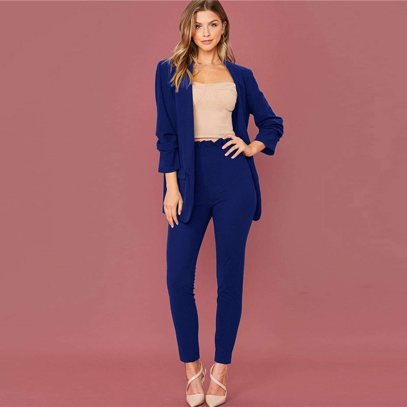 Elegant Shawl Collar Blazer and Paperbag Waist Pants Suit Set - 3 Colors - WOMENEXY