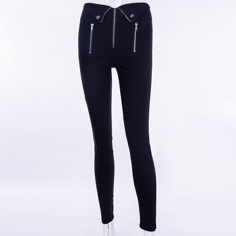 Gothic Zipper Fold Pencil Long Pants (Black) - WOMENEXY