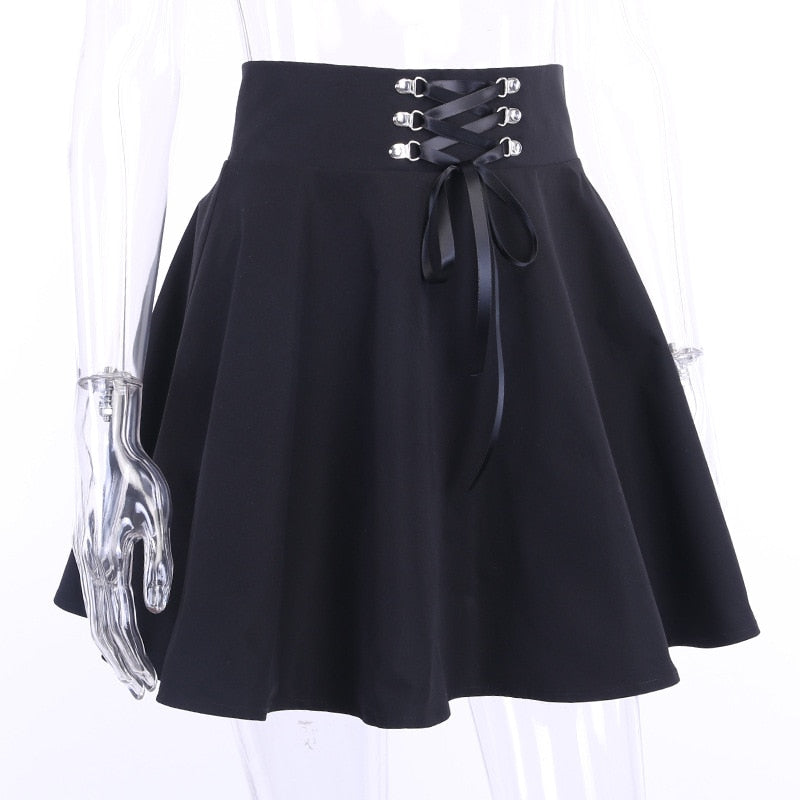 Gothic Pleated Bandage Autumn Skirts (Black) - WOMENEXY