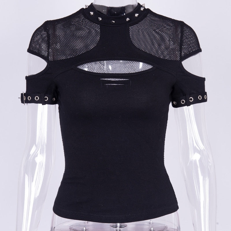 Gothic Hollow Out Mesh Summer T-Shirt (Black) - WOMENEXY