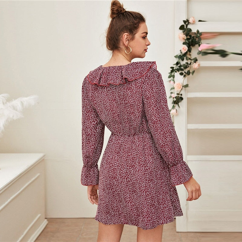 Boho Ditsy Floral Print Ruffle Trim Dress - Burgundy - WOMENEXY