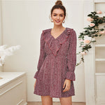 Load image into Gallery viewer, Boho Ditsy Floral Print Ruffle Trim Dress - Burgundy - WOMENEXY