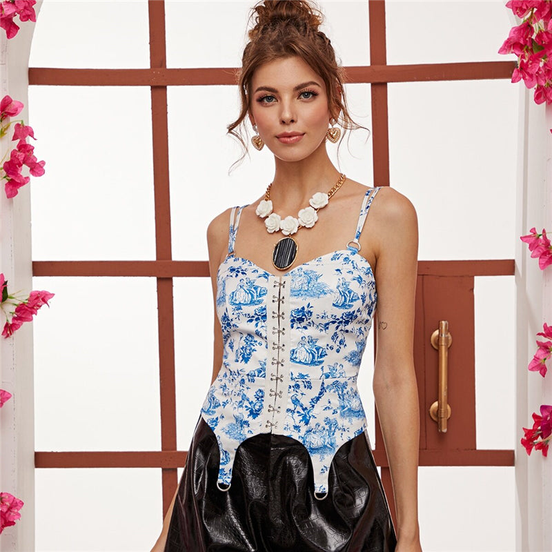 Elegant Hook and Eye Floral and Figure Print Cami Top - Blue - WOMENEXY