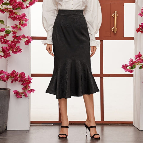 Elegant High Waist Jacquard Mermaid Long Skirts - Black - WOMENEXY