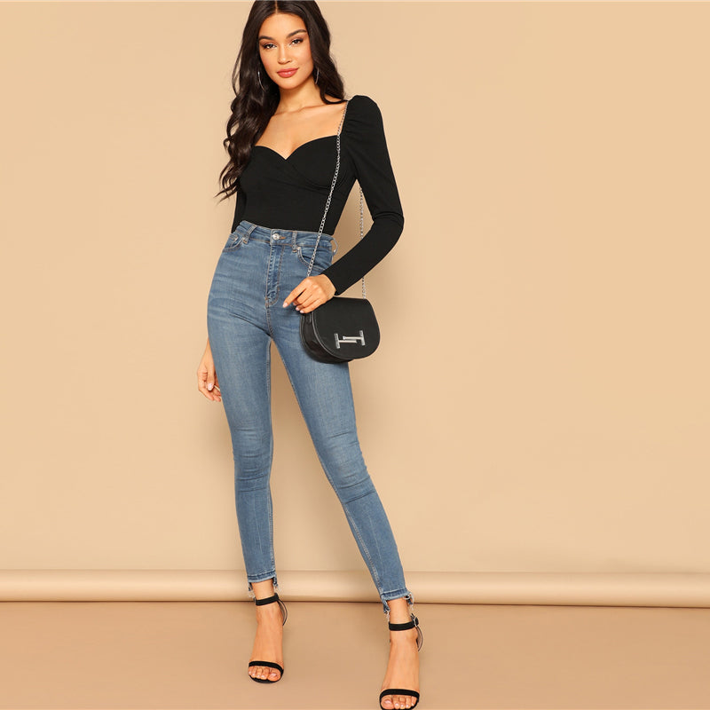 Sexy Zip Back Puff Sleeve Slim Fitted Wrap Sweetheart Neck Blouse - WOMENEXY