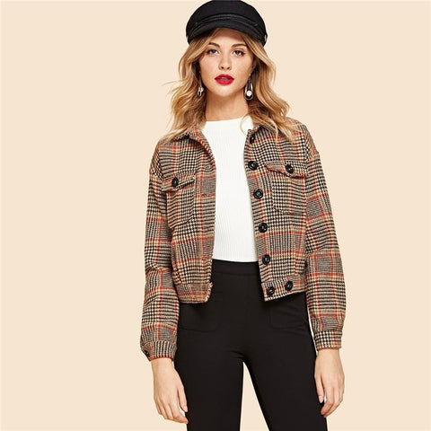 Casual Flap Pocket Front Houndstooth Utility Jacket - WOMENEXY