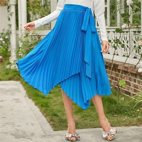 Elegant Self Belted Asymmetrical Hem Pleated Skirts - Blue - WOMENEXY