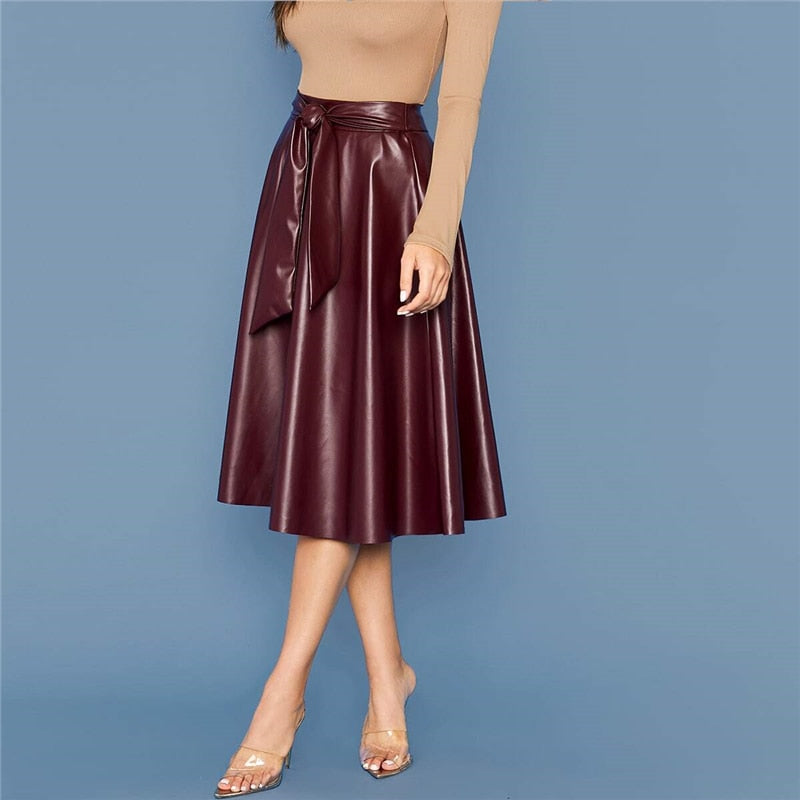 Elegant Tie Waist Faux Leather Flare Skirts - 2 Colors - WOMENEXY