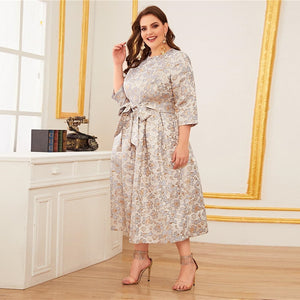 Elegant Pastel Zipper Back Jacquard Plus Size Dress - WOMENEXY