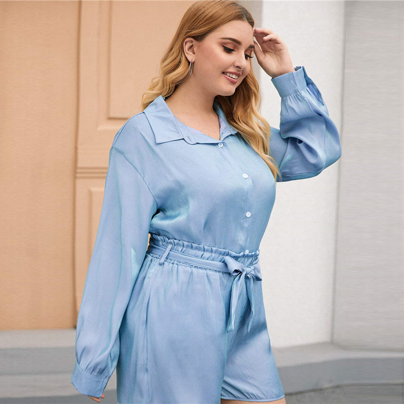 Casual Collar Button Up Plus Size Shirt - Blue - WOMENEXY