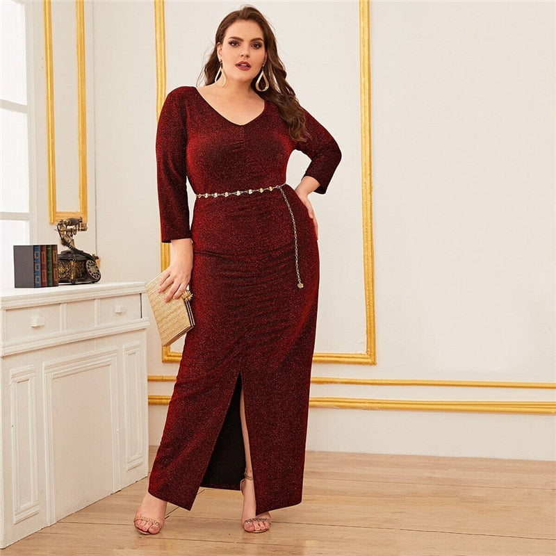 Plus Size Ruched V-Neck Split Front Glitter Dress - WOMENEXY