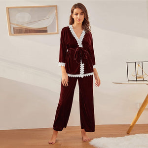 Guipure Lace Trim Belted Velvet Robe and Pants PJ Set - WOMENEXY
