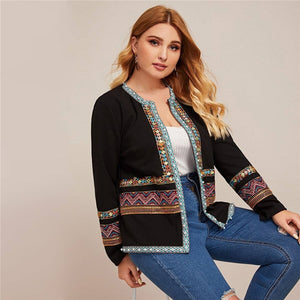Casual Contrast Aztec Tape Plus Size Jacket - WOMENEXY