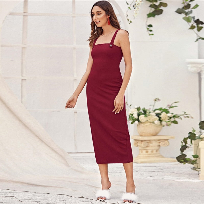 Elegant Split Fitted Cami Summer Dress (Burgundy) - WOMENEXY