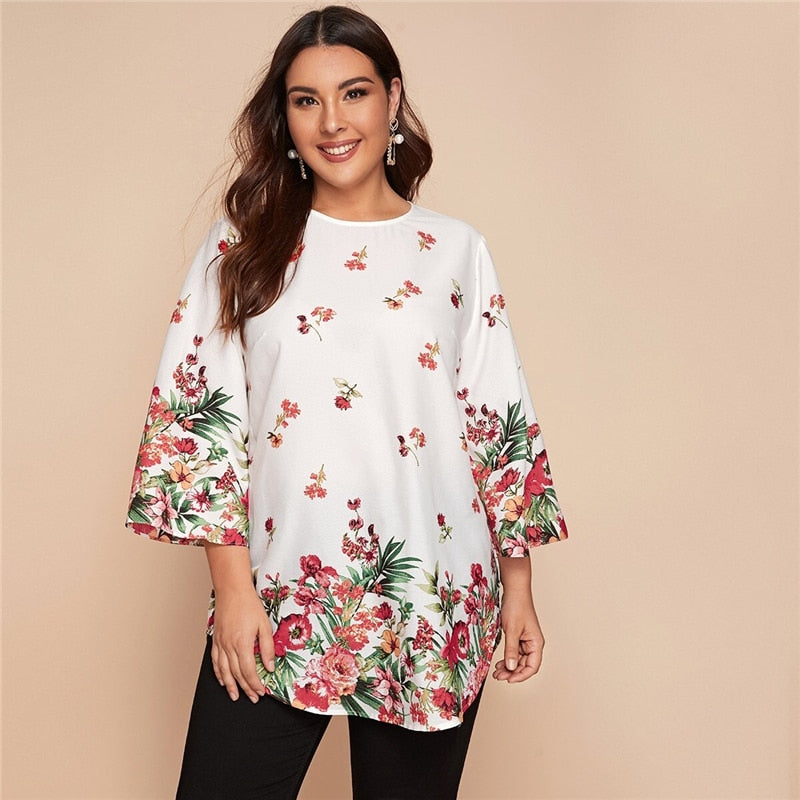 Casual Curved Hem Floral Tunic Plus Size Top - WOMENEXY