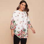 Load image into Gallery viewer, Casual Curved Hem Floral Tunic Plus Size Top - WOMENEXY