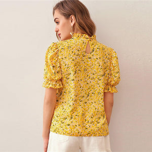 Elegant Ditsy Floral Frill Neck Puff Sleeve Top - WOMENEXY