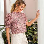 Load image into Gallery viewer, Elegant Ditsy Floral Frill Neck Puff Sleeve Top - WOMENEXY