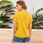 Load image into Gallery viewer, Casual Ruffle Trim Guipure Lace T-Shirt - WOMENEXY