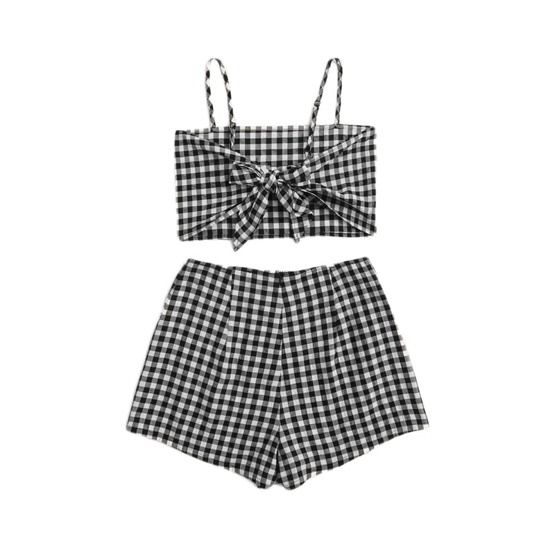 Preppy Gingham Crop Top and Shorts Set - WOMENEXY