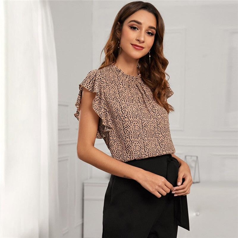 Elegant Cheetah Print Frill Mock Neck Blouse - WOMENEXY