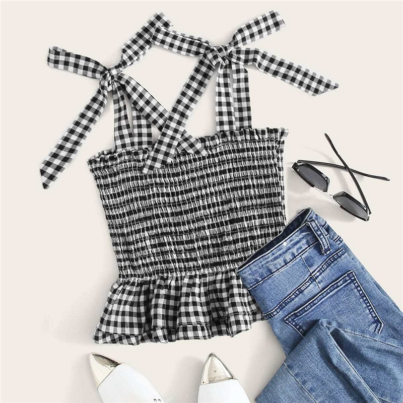 Boho Knotted Strap Shirred Gingham Peplum Cami Top - WOMENEXY