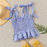 Load image into Gallery viewer, Boho Knotted Strap Shirred Gingham Peplum Cami Top - WOMENEXY