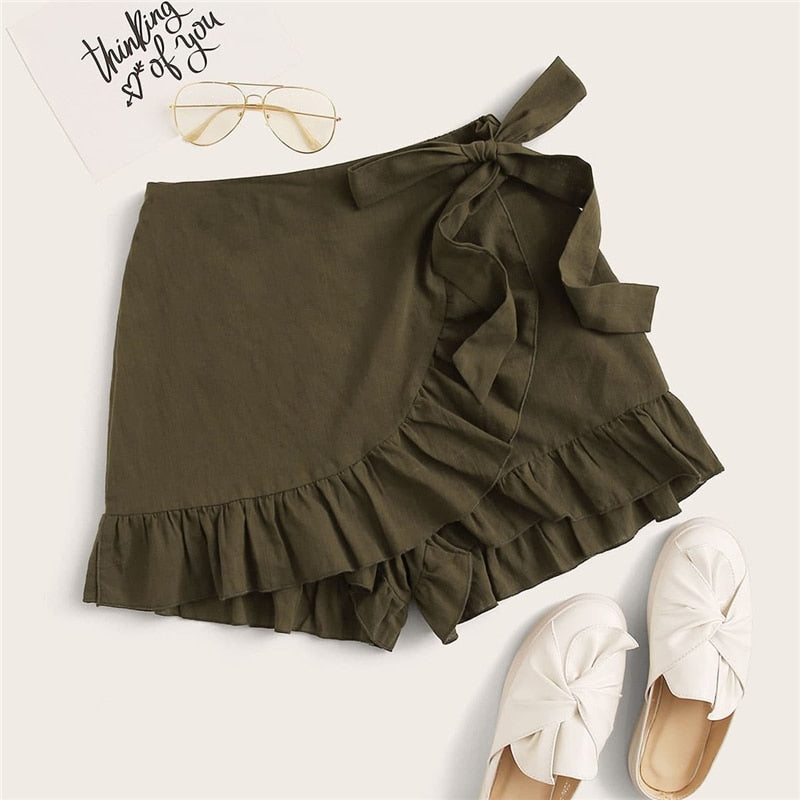 Casual Tie Side Ruffle Trim Wrap Short - WOMENEXY