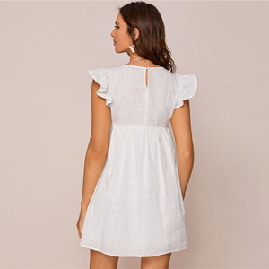 Cute Ruffle Armhole Embroidery Floral Smock Dress - WOMENEXY