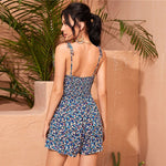 Load image into Gallery viewer, Boho Shirred Back Ditsy Floral Cami Romper - WOMENEXY