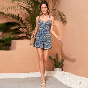 Boho Shirred Back Ditsy Floral Cami Romper - WOMENEXY
