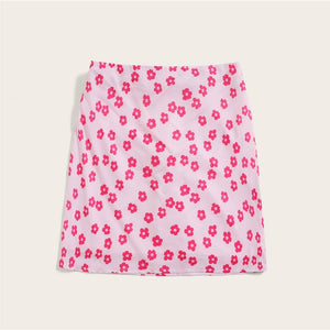 Casual Zip Back All Over Floral Print Mini Skirts - WOMENEXY