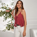 Load image into Gallery viewer, Bohemian All Over Heart Print Tie Front Crop Cami Top - WOMENEXY