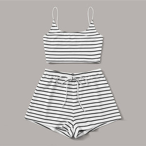Sexy Striped Crop Cami Top and Shorts Set - WOMENEXY