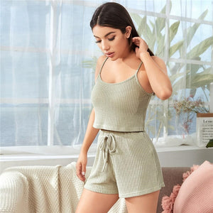 Casual Cami Top and Drawstring Shorts Pajama Set - WOMENEXY