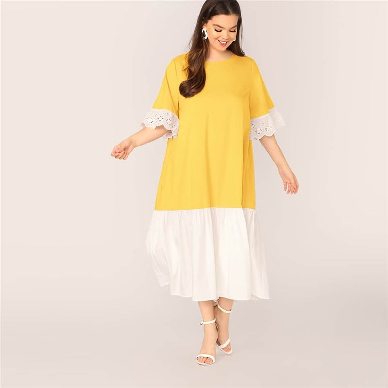 Casual Two Tone Eyelet Embroidery Cuff Smock Plus Size Dress - WOMENEXY