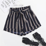 Load image into Gallery viewer, Cute Vertical Striped Pocket Front Belted Shorts - WOMENEXY