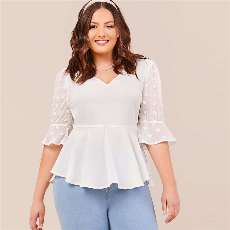 Elegant Flounce Sleeve Swiss Dot Plus Size Top - WOMENEXY