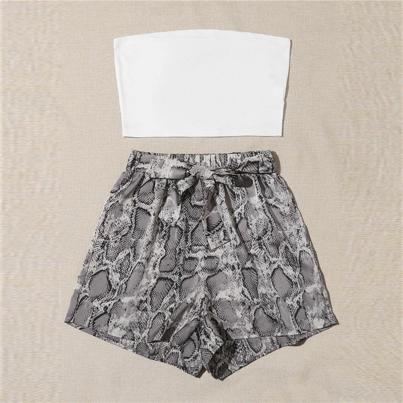 Casual Crop Tube Top and Snakeskin Print Shorts Set - WOMENEXY