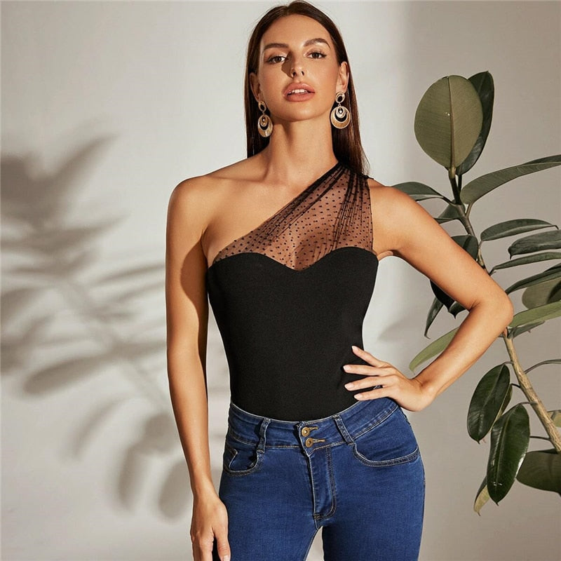 Elegant One Shoulder Dot Flocked Mesh Yoke Top - WOMENEXY