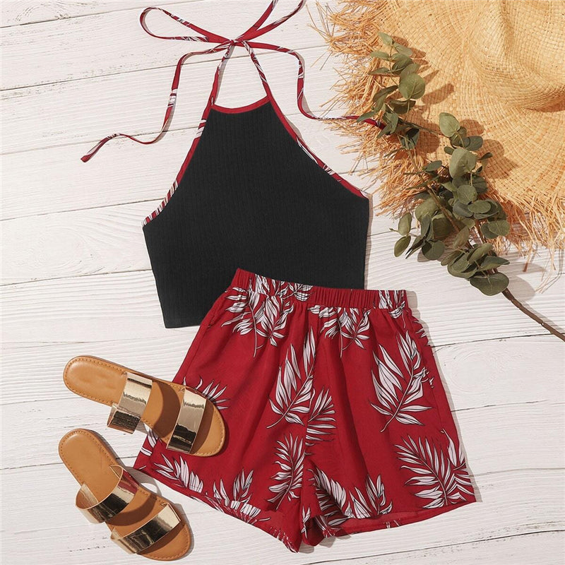 Boho Contrast Binding Top and Wide Leg Shorts Set - WOMENEXY