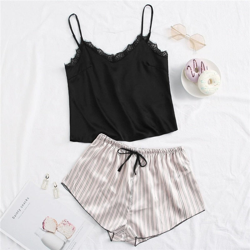 Elegant Contrast Lace Satin Cami Top Striped Shorts Pajama Sets - WOMENEXY