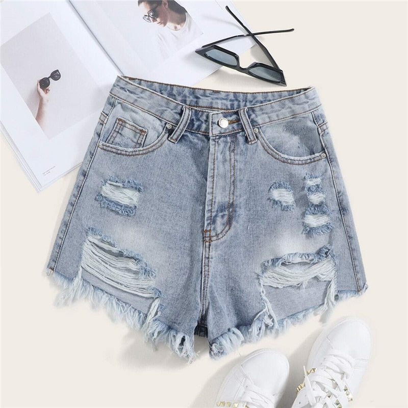 Casual Ripped Frayed Edge Denim Shorts - WOMENEXY