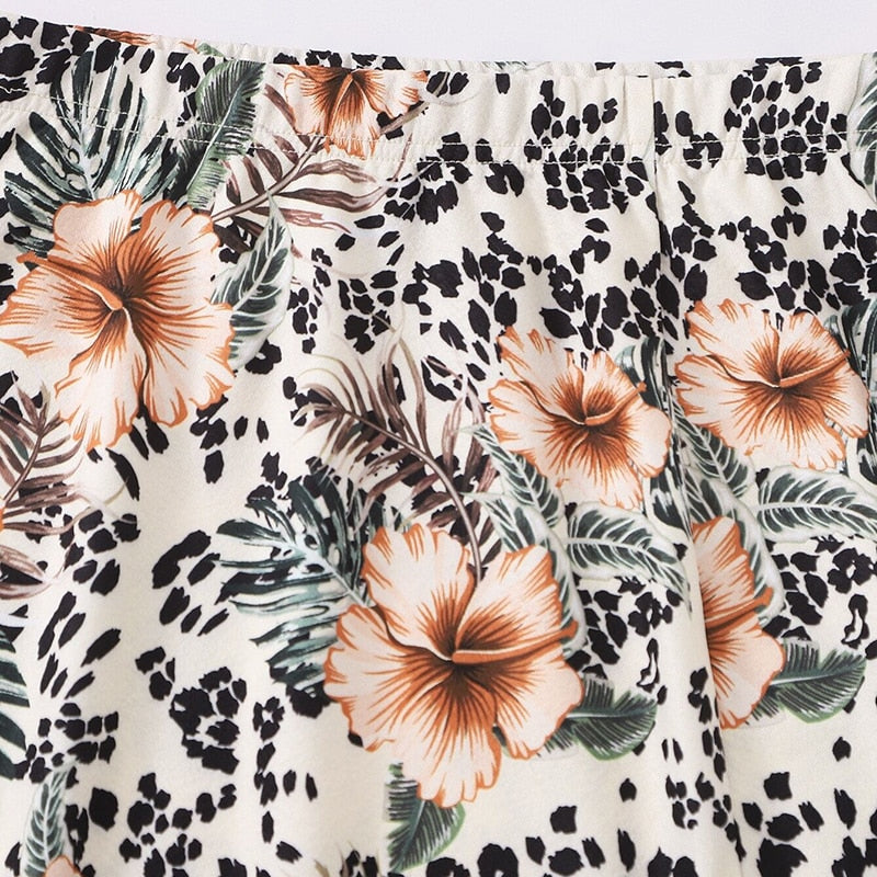 Casual Tropical and Graphic Print Split Hem Skirts - WOMENEXY