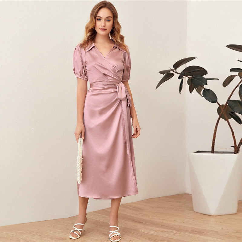Elegant Puff Sleeve Belted Satin Wrap Dress - WOMENEXY